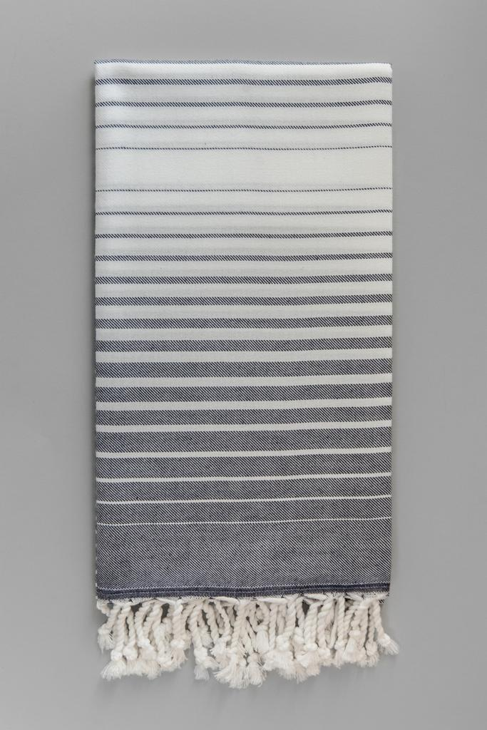 Illusion Turkish Bath Towel - grey & white