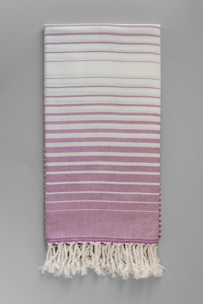 Illusion Turkish Bath Towel - purple & white