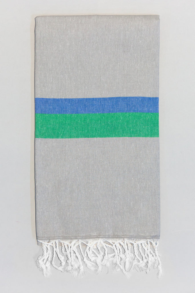 Knidos Collection Turkish Bath Towel gray, green, and blue