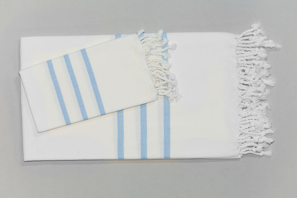 Antiochia Collection Bath Towel - white & baby blue