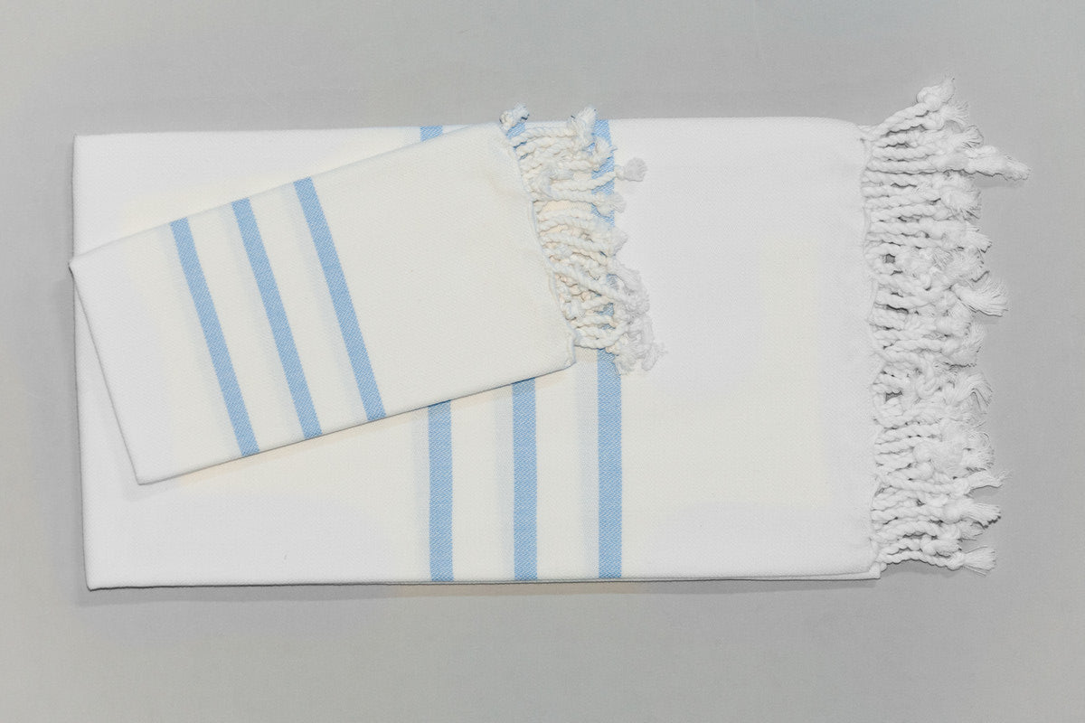 Turkish Hand Towel Collection - white & baby blue