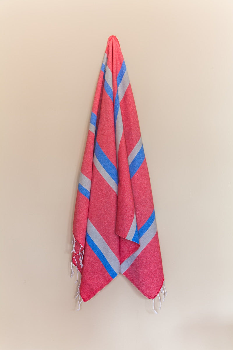 Knidos Collection Turkish Bath Towel red, white, and blue