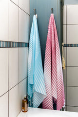Illusion Turkish Bath Towel - teal and pink