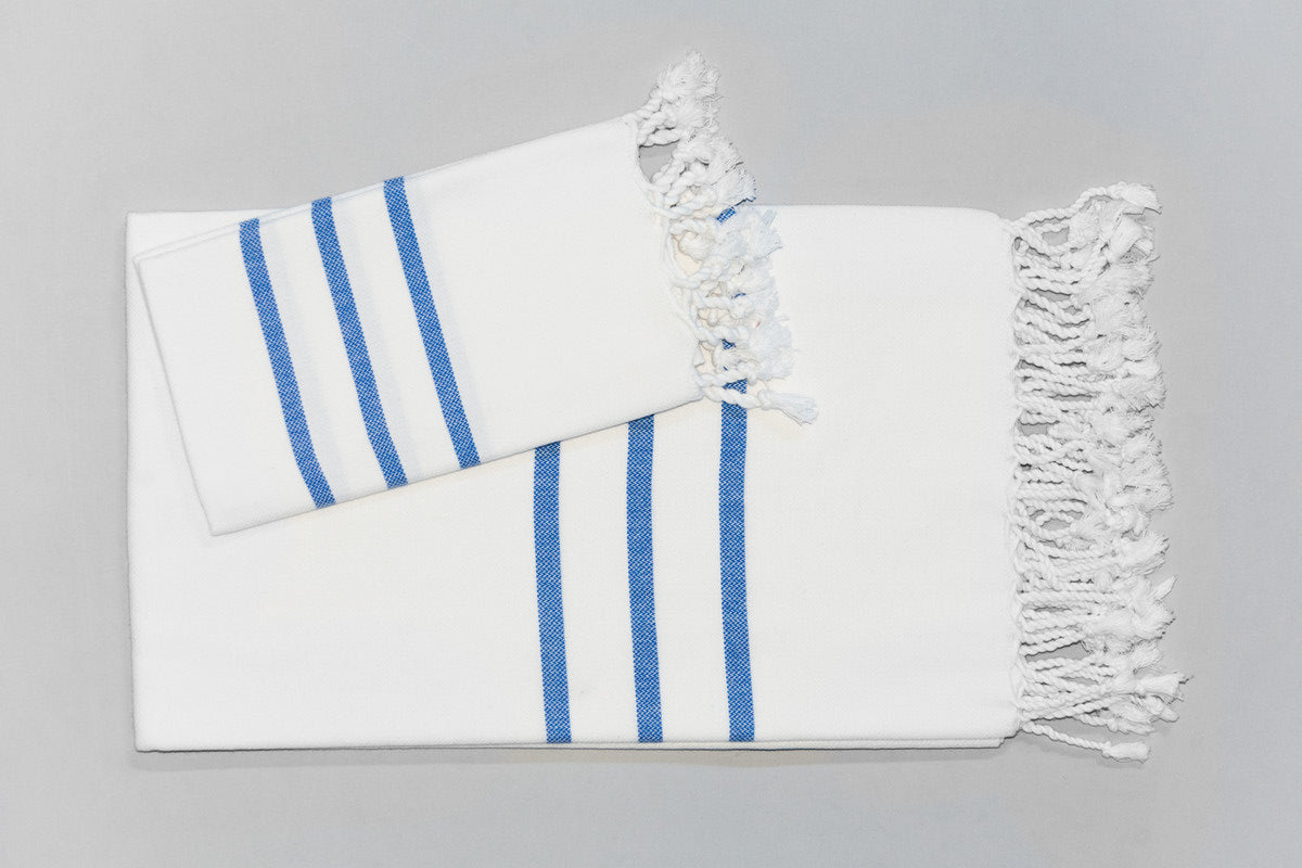 Turkish Hand Towel Collection - white & blue