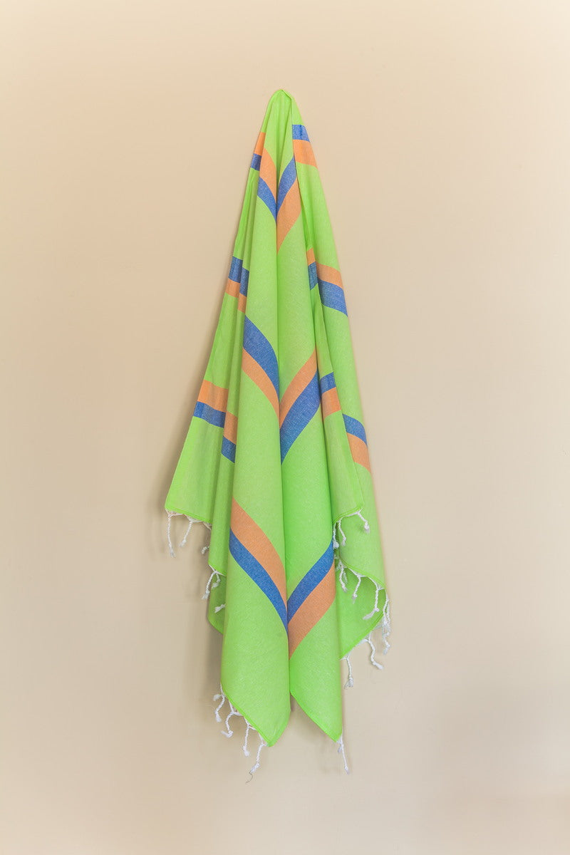 Knidos Collection Turkish Bath Towel green, blue and orange