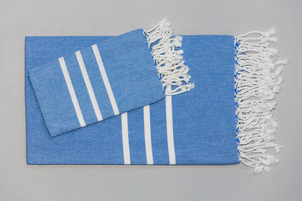Antiochia Collection Bath Towel - blue & white