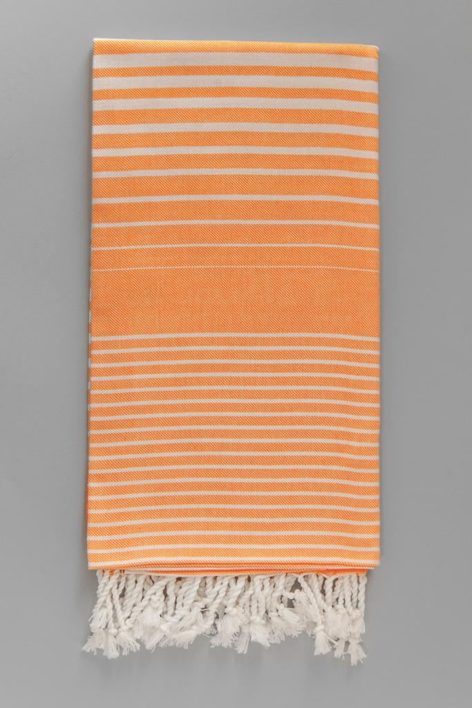 Illusion Turkish Bath Towel - orange & white