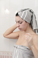 Turkish Hand Towel Collection - gray & white