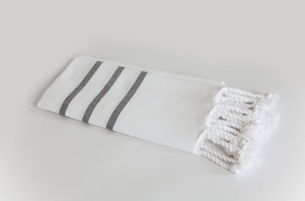 Turkish Hand Towel Collection - white & navy three stripes