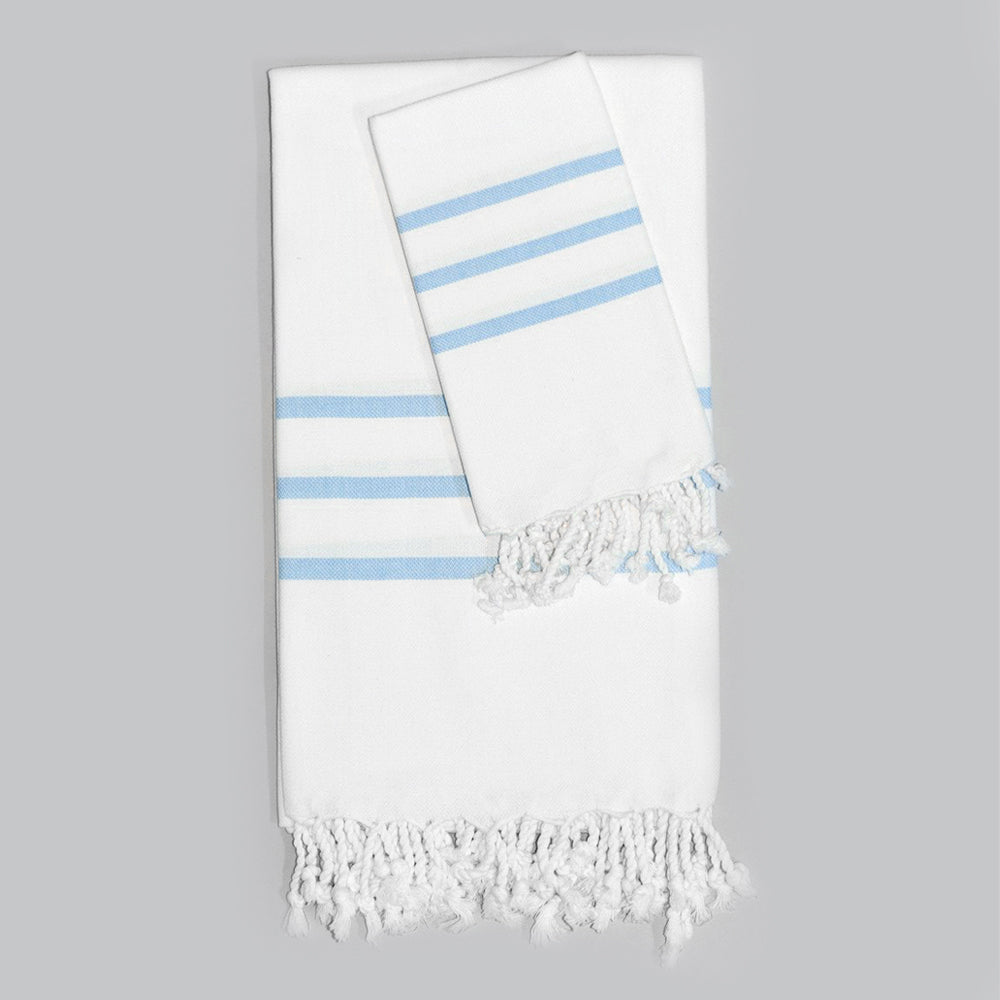 White with Light Blue Bath Towel – Antiochia Collection