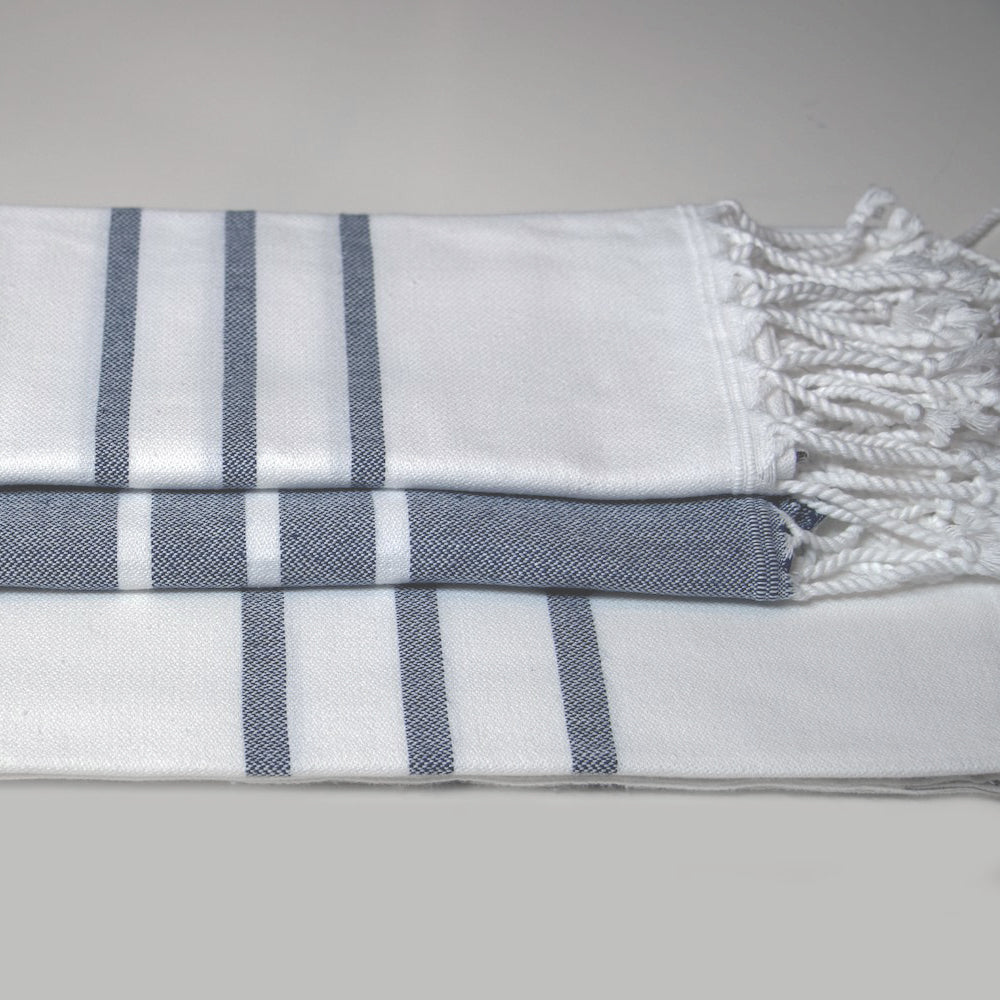 White with Navy Bath Towel – Antiochia Collection