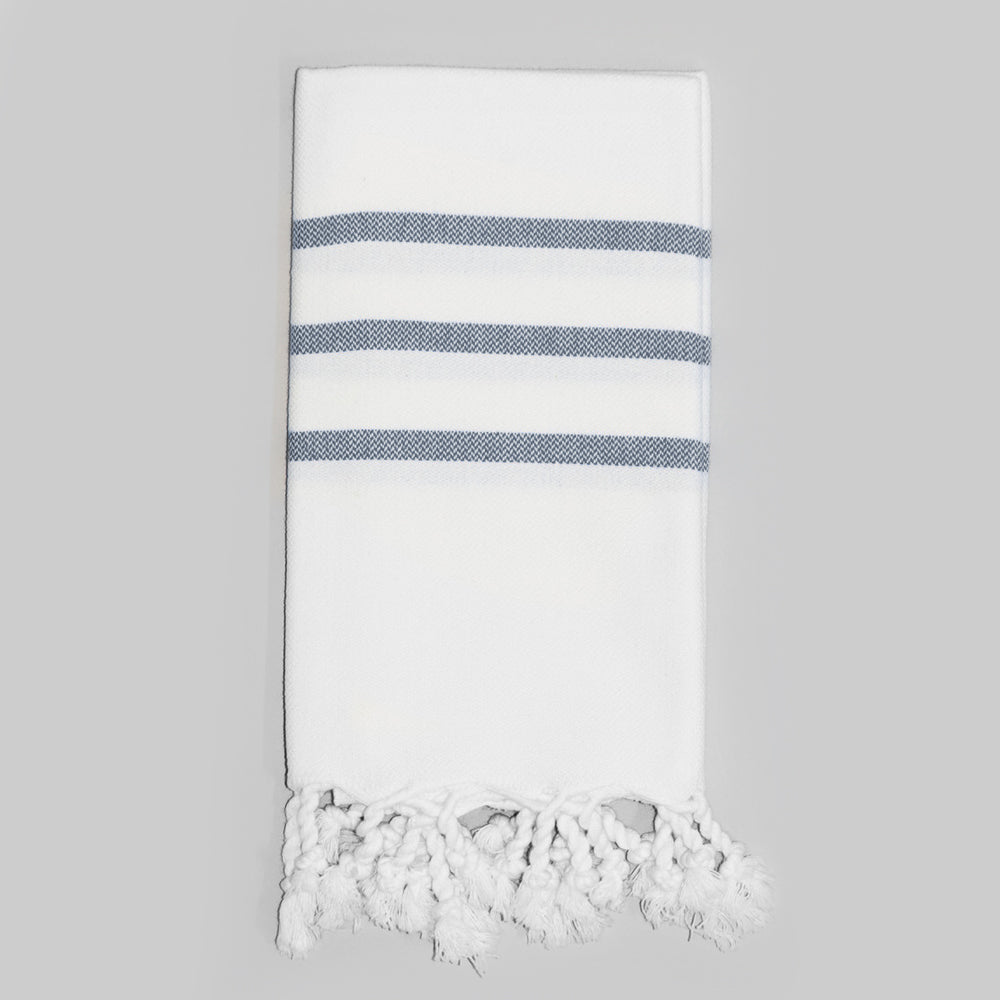 White with Navy Hand Towel – Antiochia Collection