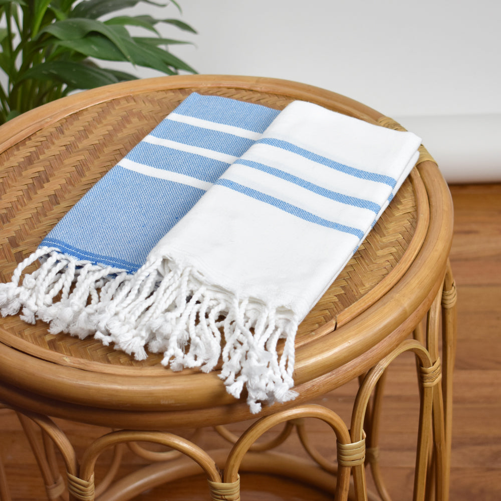 White with Royal Blue Hand Towel – Antiochia Collection
