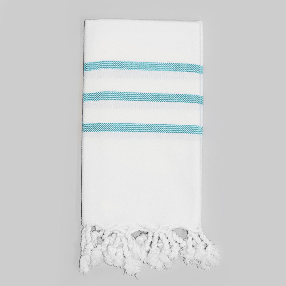 White with Teal Hand Towel – Antiochia Collection