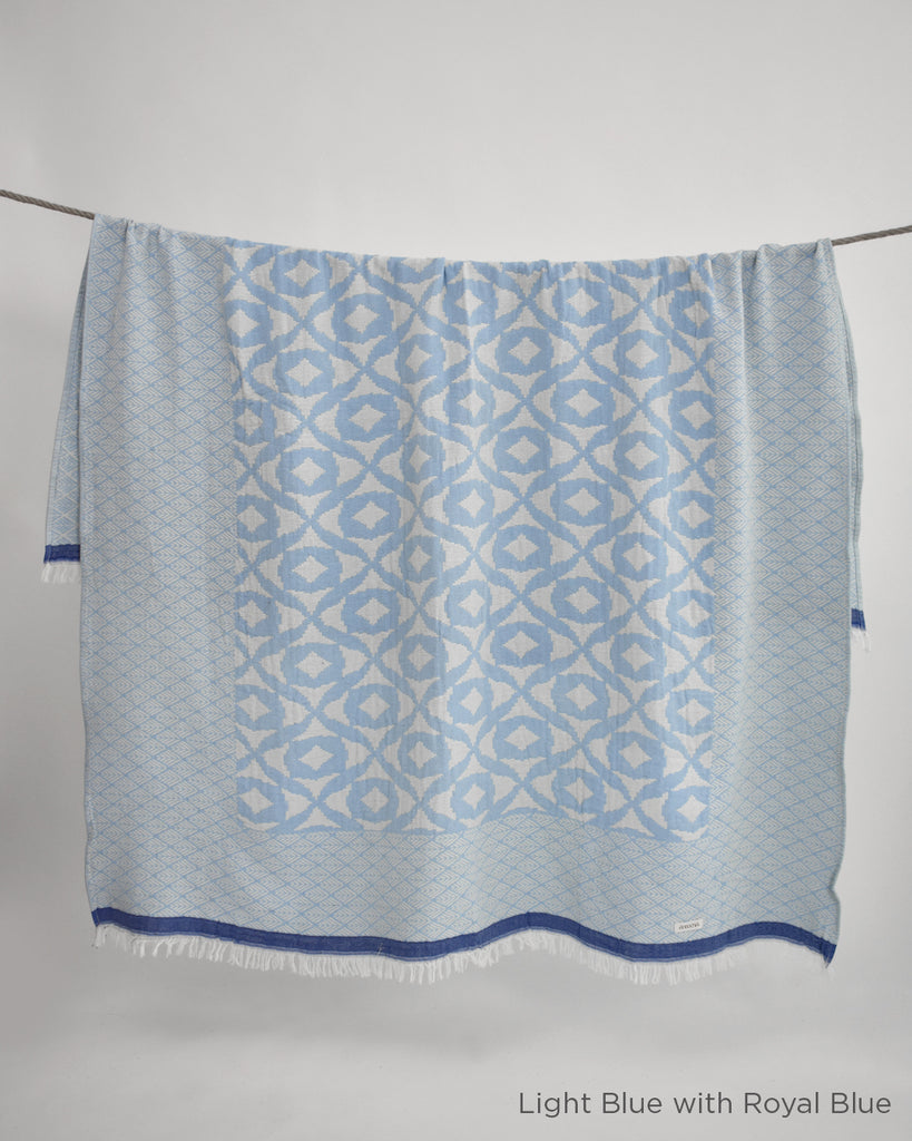 Semra Cotton Throw – Light Blue with Royal Blue