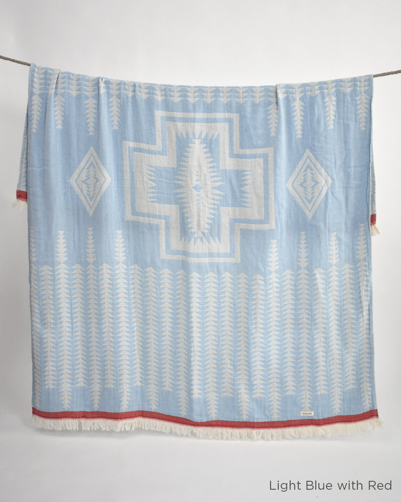 Yaban Cotton Throw - Light Blue with Red