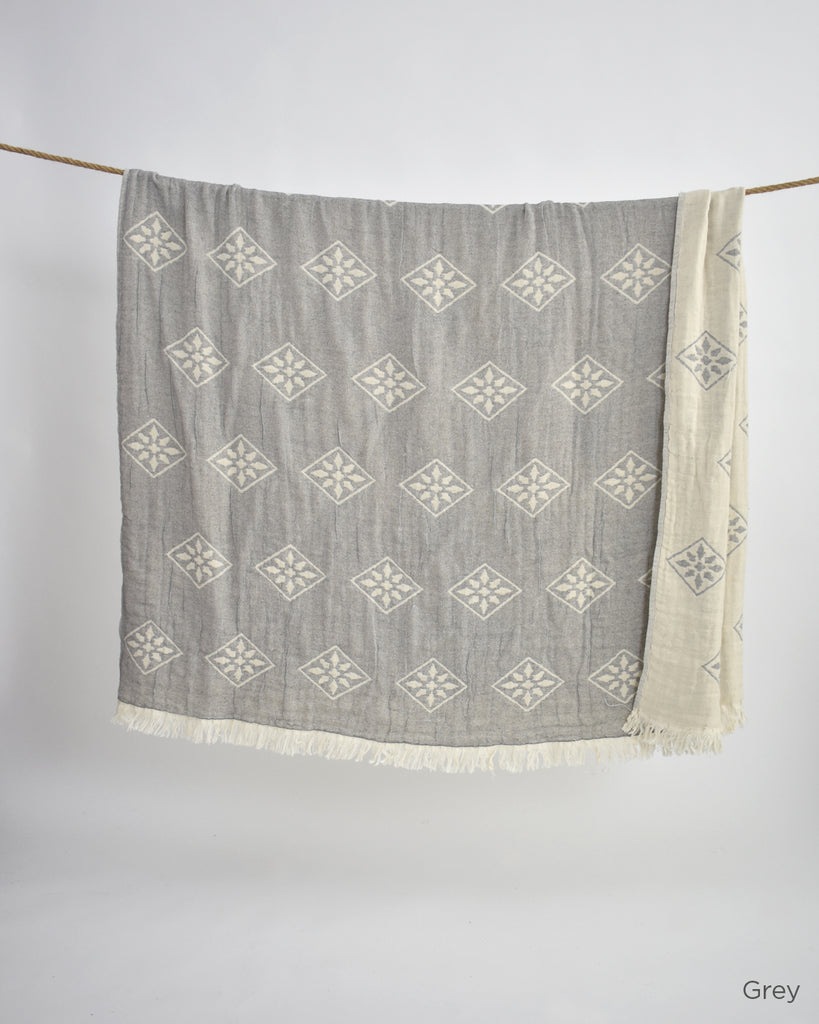 Yildiz Cotton Throw – Grey
