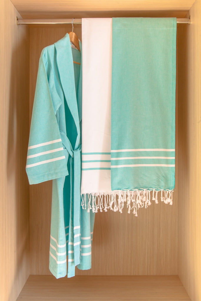 Antiochia Collection Bathrobe – Teal
