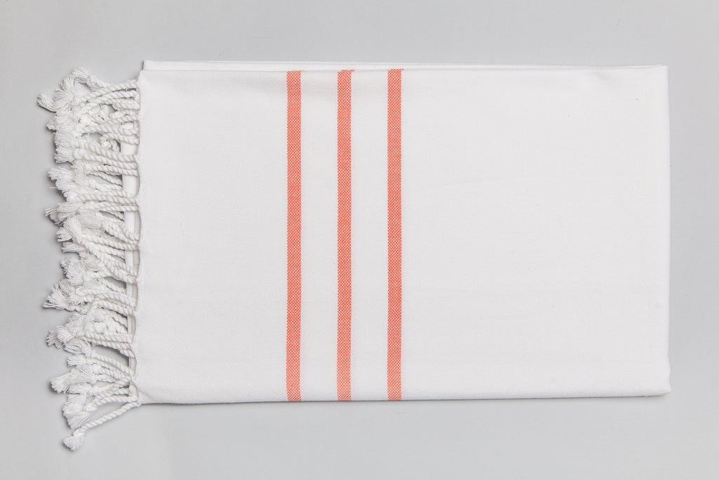 Antiochia Collection Bath Towel - white & orange