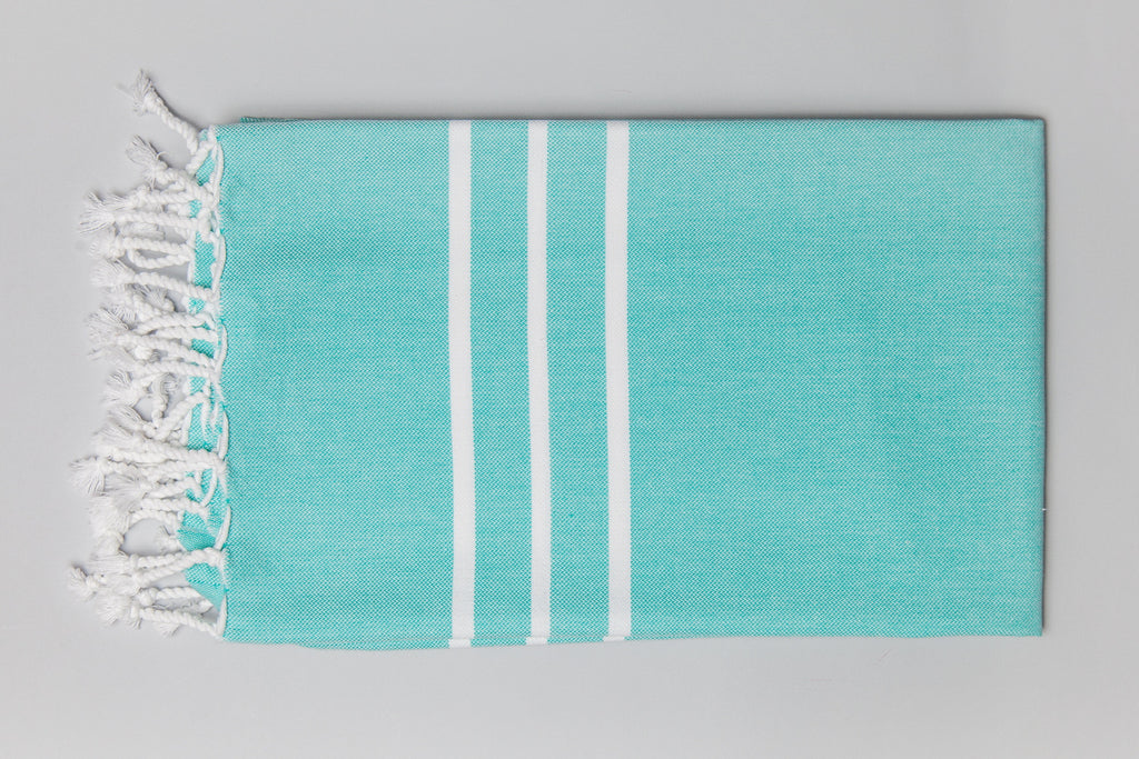 Antiochia Collection Bath Towel - teal & white
