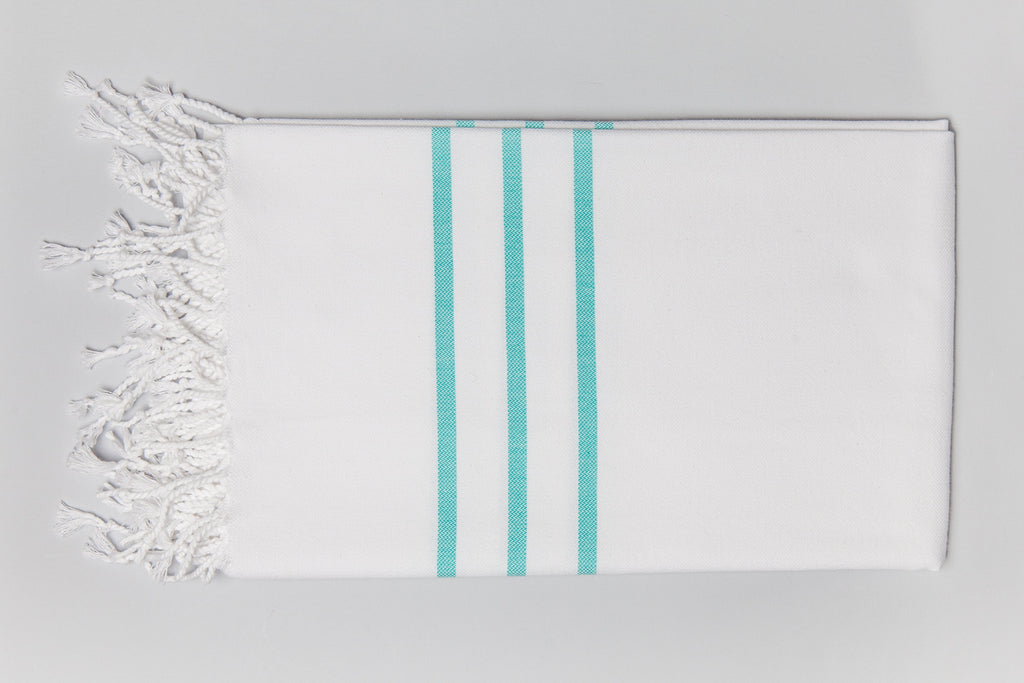 Antiochia Collection Bath Towel - white & Teal