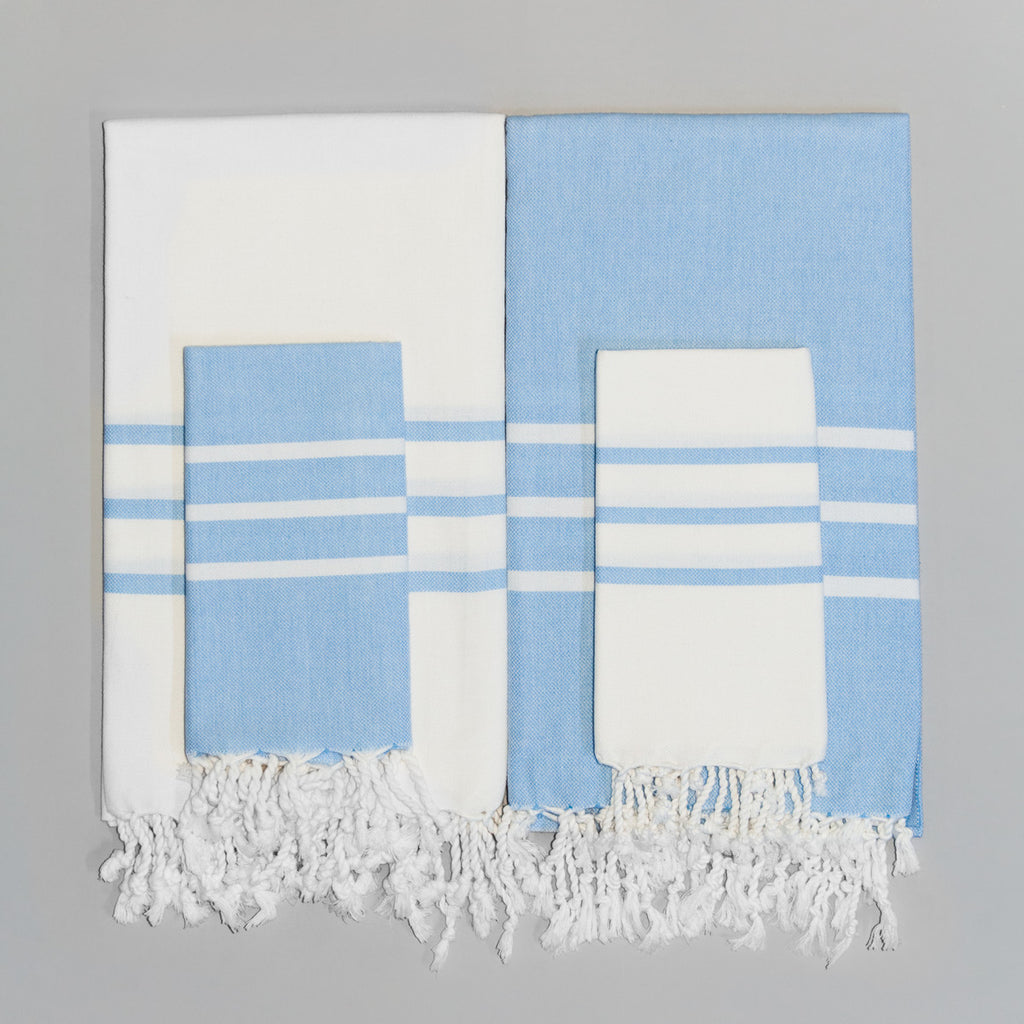 Antiochia Collection Bath Towel - white & baby blue set