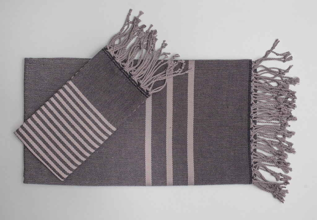 Antiochia Turkish Bath Towels in Gray - black & gray 2