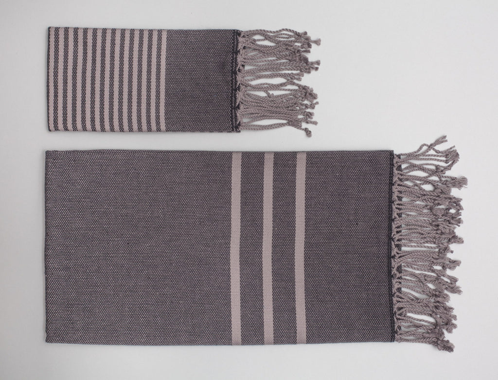 Antiochia Turkish Bath Towels in Gray - black & gray - 3