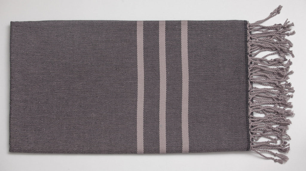 Antiochia Turkish Bath Towels in Gray - black & gray 1