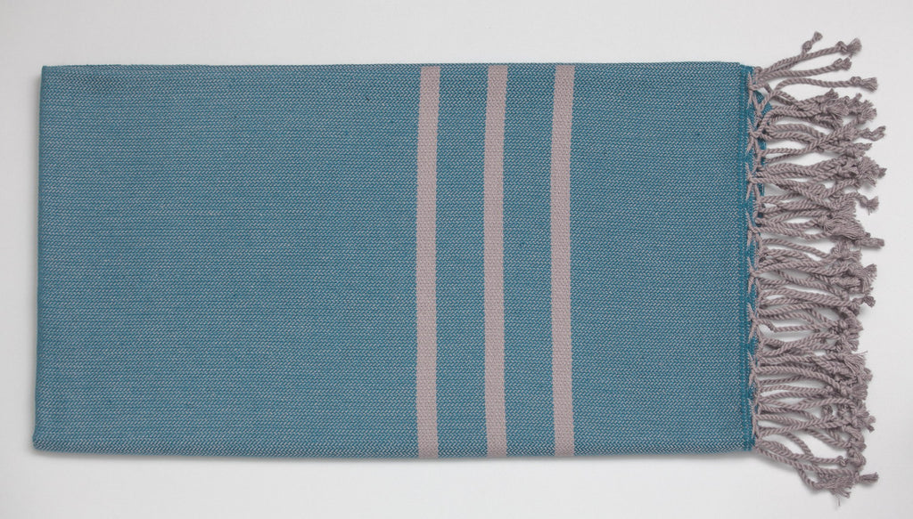 Antiochia Turkish Bath Towels in Gray - teal & gray 3