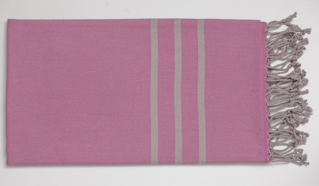 Antiochia Turkish Bath Towels in Gray - fuschia & gray 2