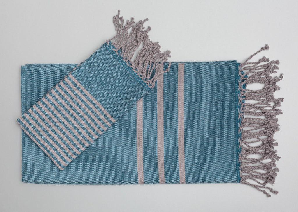 Turkish Hand Towels from Antiochia - Teal & Grey