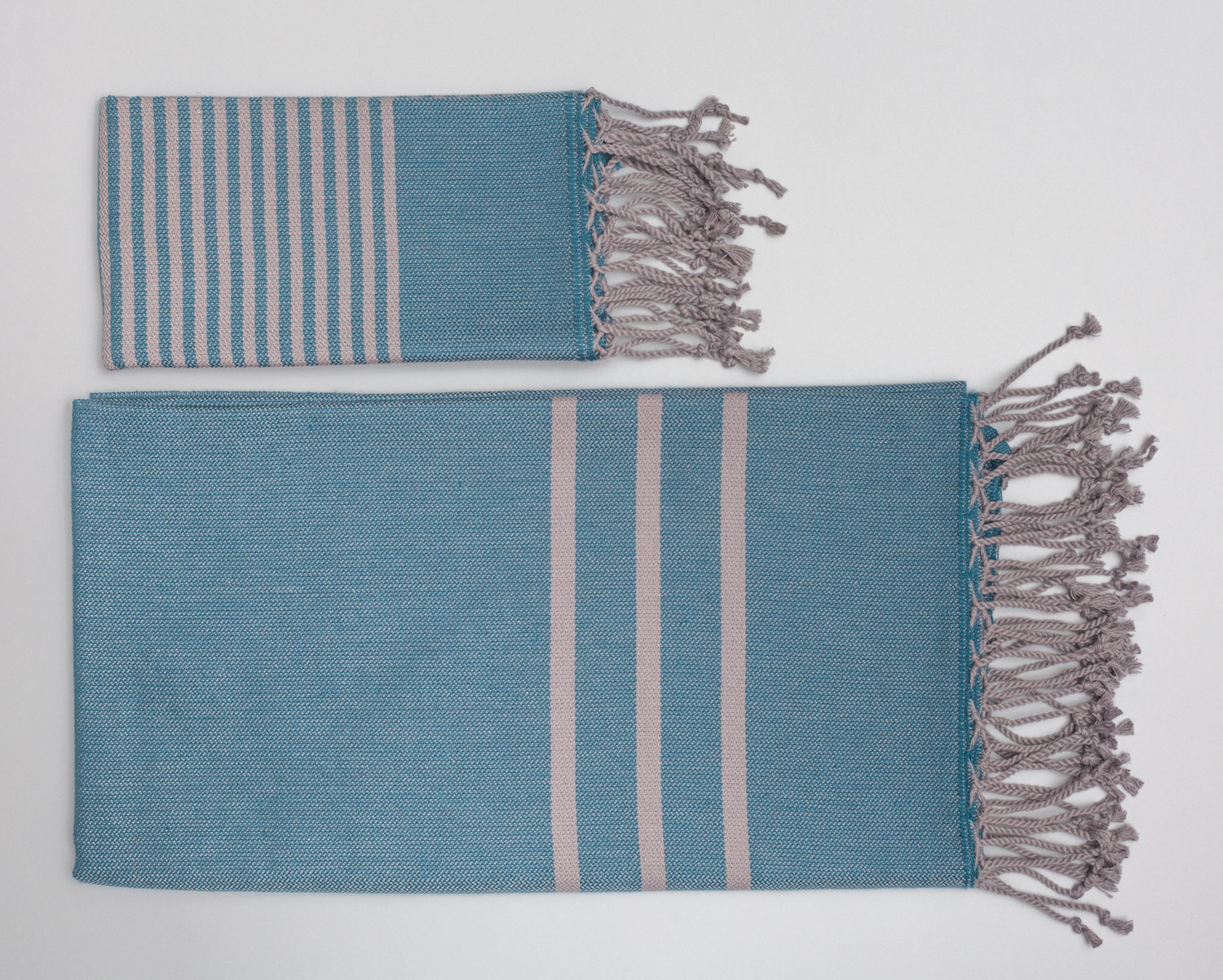 Antiochia Turkish Bath Towels in Gray - teal & gray 2