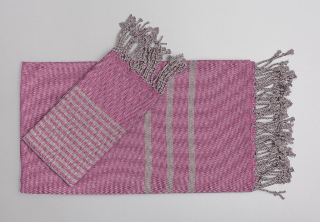 Antiochia Turkish Bath Towels in Gray - fuschia & gray 1