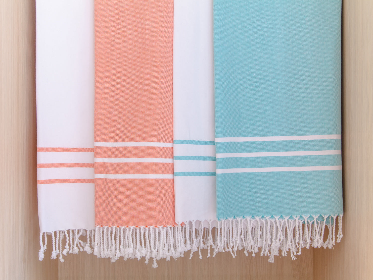 Turkish Hand Towel Collection - coral and teal