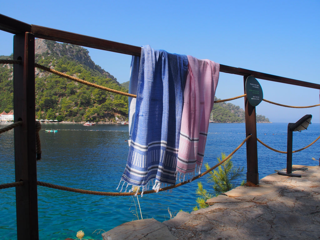 Freya Collection Turkish Bath Towel by the beach