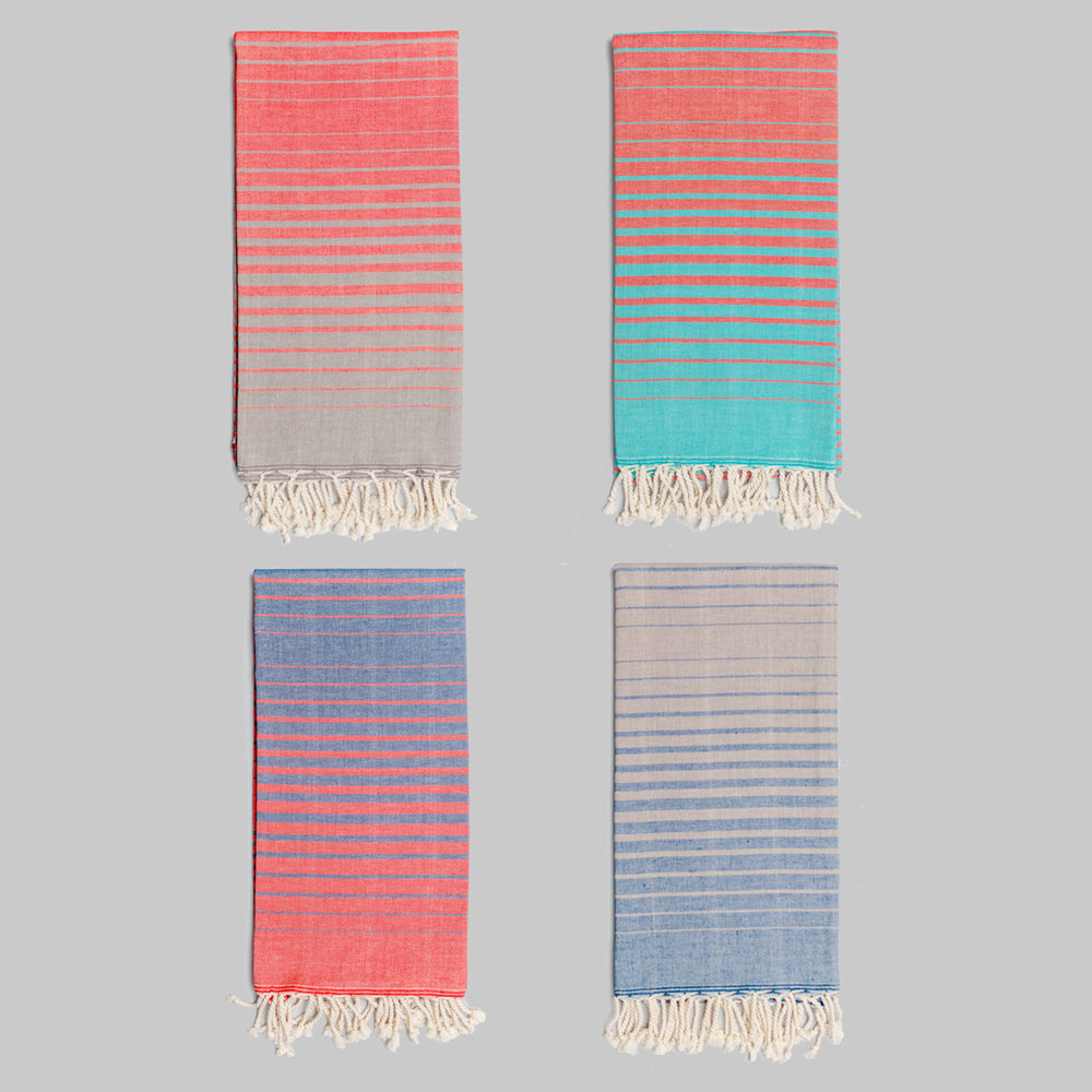 Coral & Grey Bath Towel – Illusion Collection