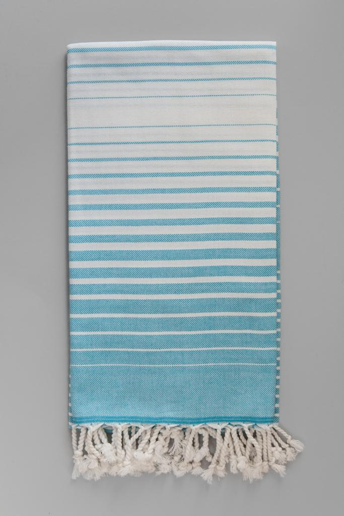 Illusion Turkish Bath Towel - baby blue & white