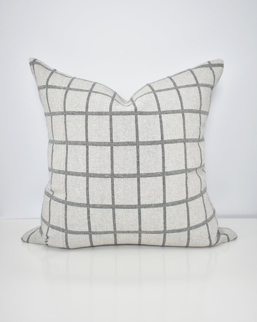 Grey Windowpane Pillow Cover