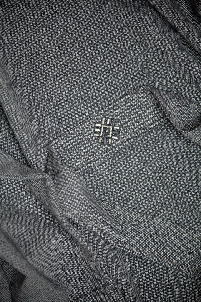 Wool/Cotton Blend Robe – Dark Grey