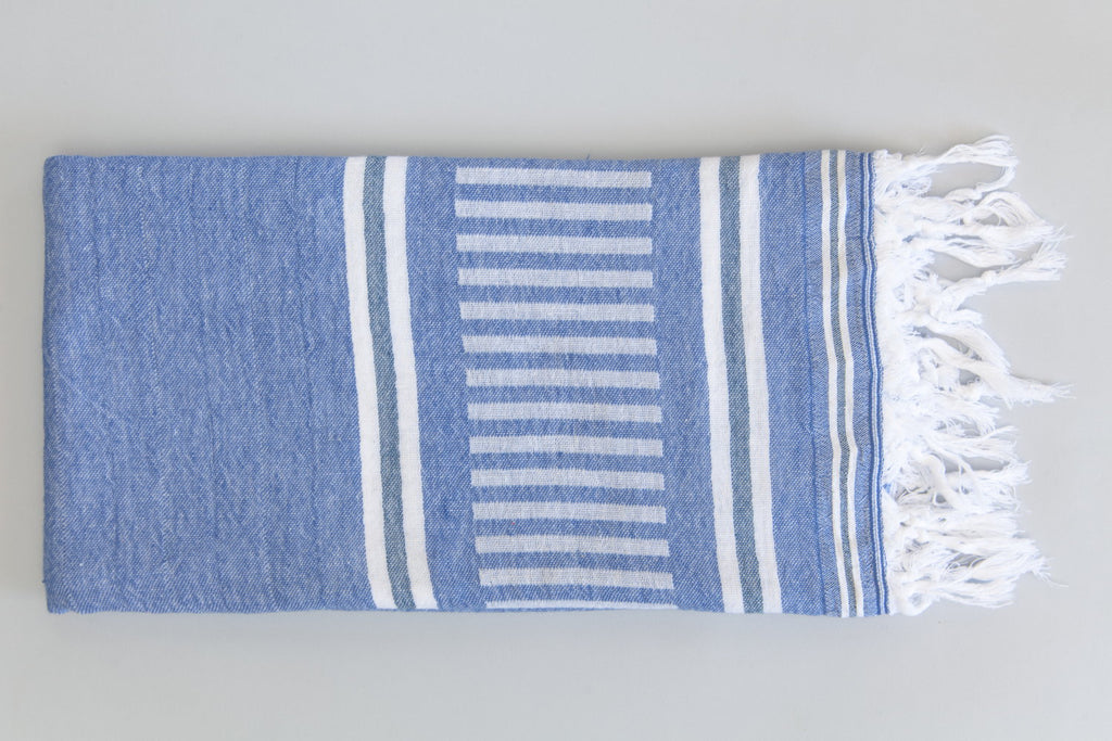 Freya Collection Turkish Bath Towel - blue & white