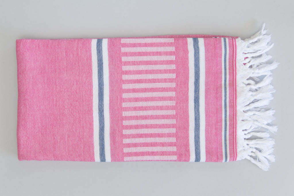 Freya Collection Turkish Bath Towel - pink, blue, and white
