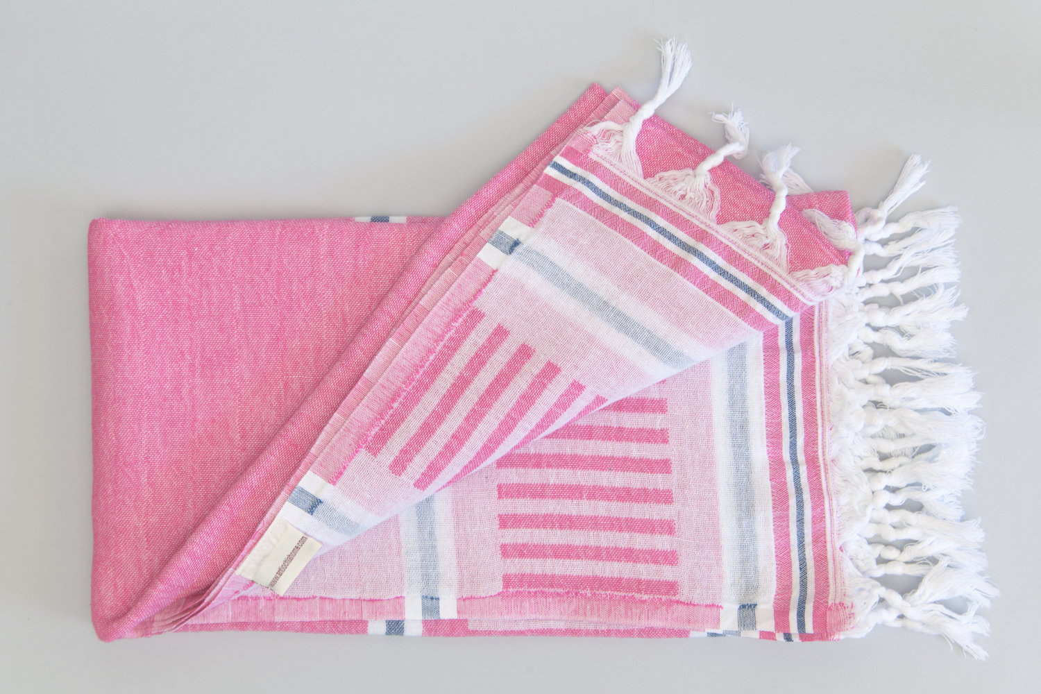Freya Collection Turkish Bath Towel pink, blue and white open