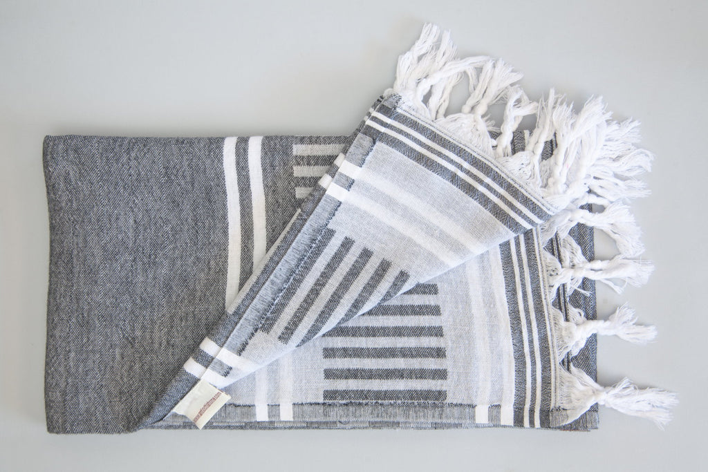 Freya Collection Turkish Bath Towel - grey & white
