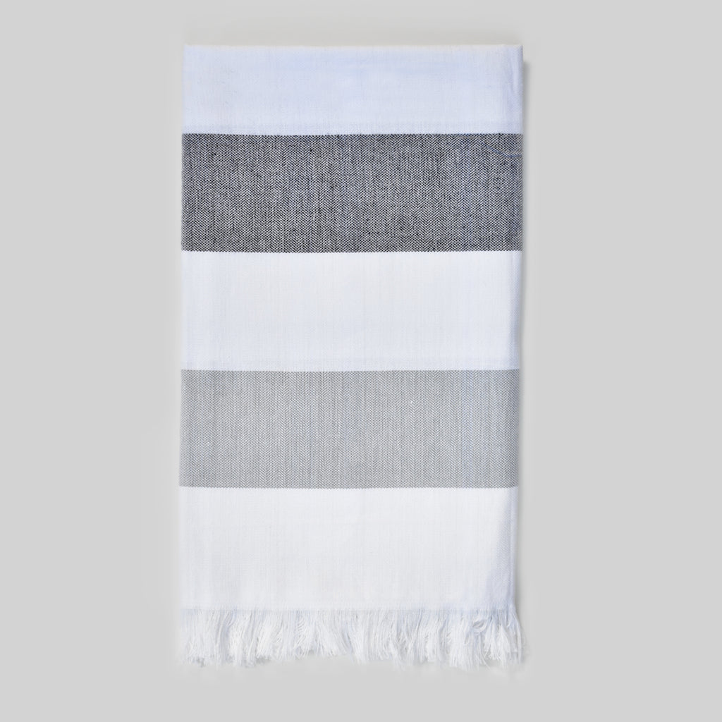 Charcoal & Grey Bath Towel – Cabana Stripes Collection
