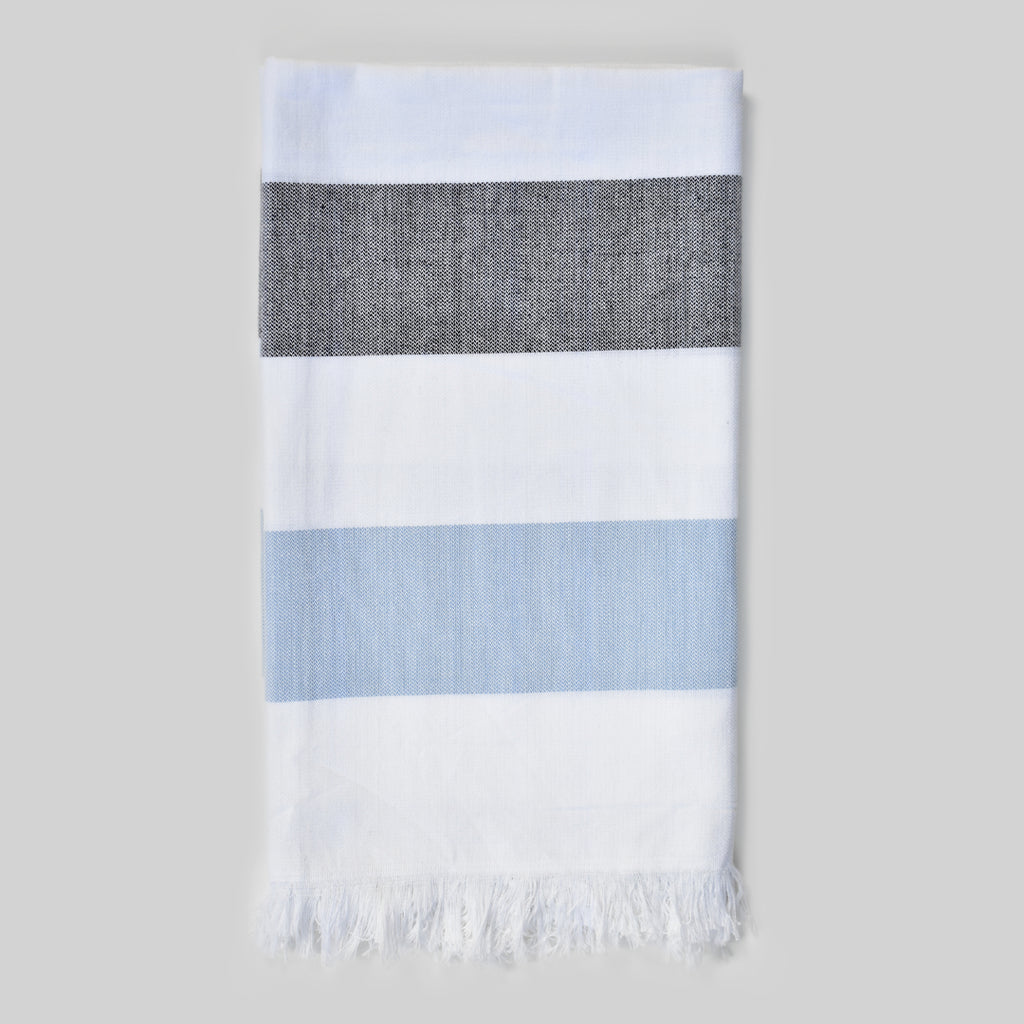 Charcoal & Light Blue Bath Towel – Cabana Stripes Collection