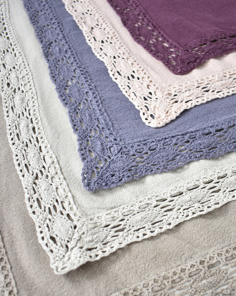 Lace Trim Washed Cotton Tablecloth