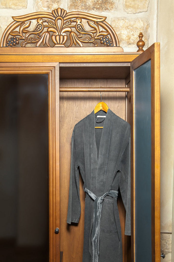 Stonewashed Cotton Robe – Charcoal