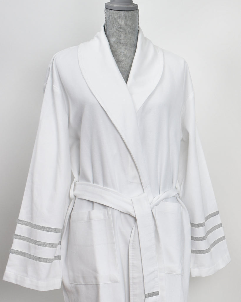Antiochia Collection Bathrobe – White with Grey