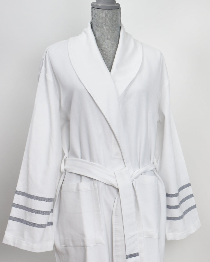 Antiochia Collection Bathrobe – White with Navy